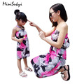 2017 Summer Matching Mother Daughter Clothes print flower Knee-length Dress Mother Daughter Dresses Girls Dress Family Look