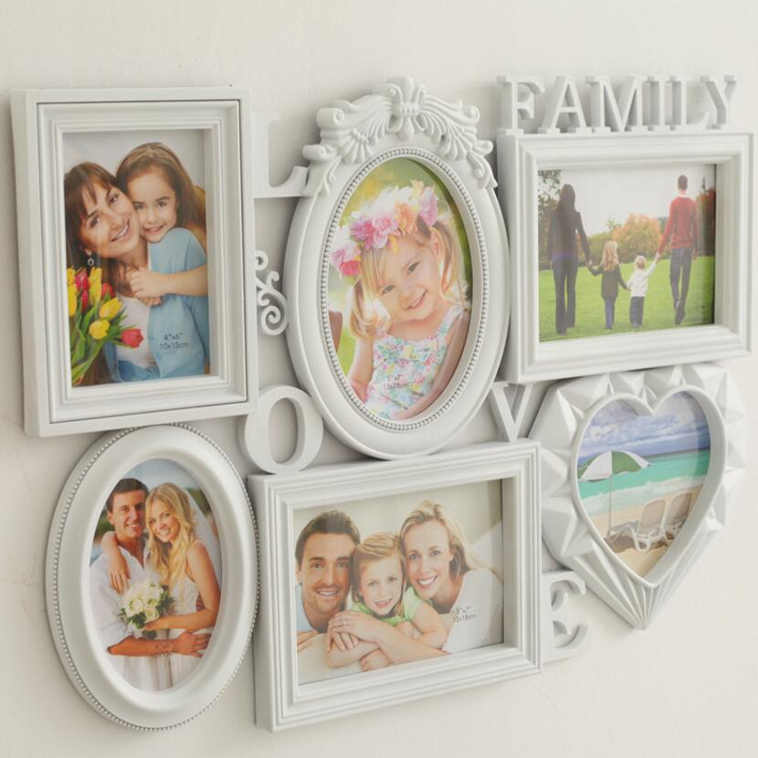 6PC/Lot 6 inch 7 inch exquisite romantic pure European combination Siamese wall hanging creative family photo frame SY29D5