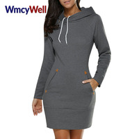 WmcyWell Women Sporting Dress With Pockets Autumn Casual Cotton Long Sleeve Solid Bodycon Pencil Hoodie Slim