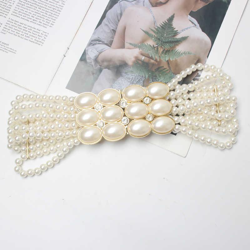 VINTAGE Handmade ไข่มุกประดิษฐ์เข็มขัดเอว Multi-ชั้นกว้างเอวหญิงฤดูร้อนชุดเสื้อรัดตัวสายเข็มขัด