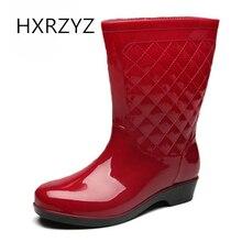 HXRZYZ Женские дождевые сапоги плюс хлопчатобумажные резиновые ботильоны весна / осень новая мода ПВХ Slip-Resistant Водонепроницаемая обувь женщин