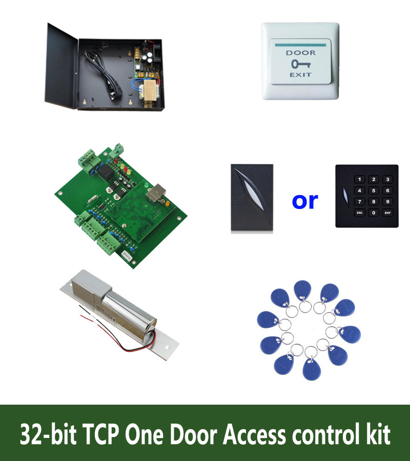 цены RFID 32-bit access control kit,TCP/ip one door access control+powercase+bolt lock +ID reader+exit button+10 ID tags,sn:kit-T02