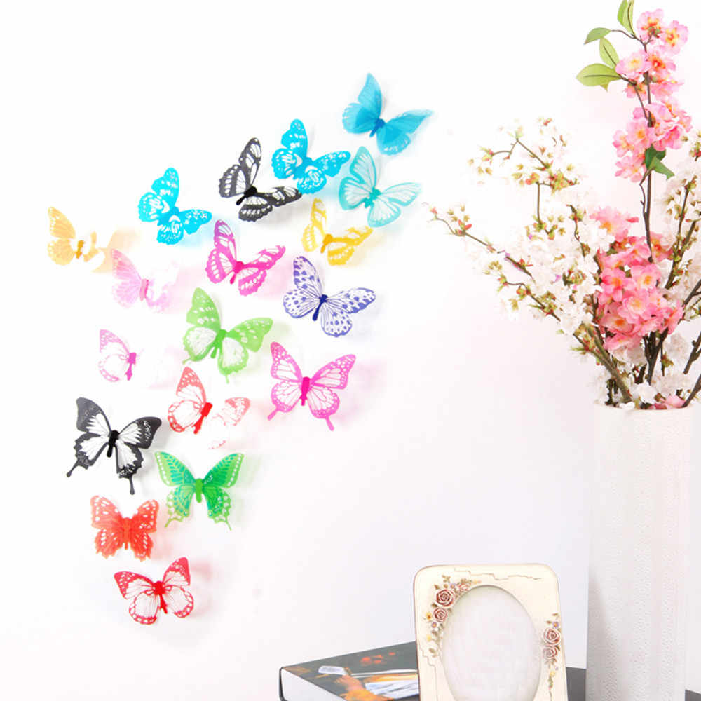 18pcs Decal Wall Stickers Home Decorations 3D Butterfly Rainbow Poster PVC Wallpaper for living room Wall Stickers Wallpaper
