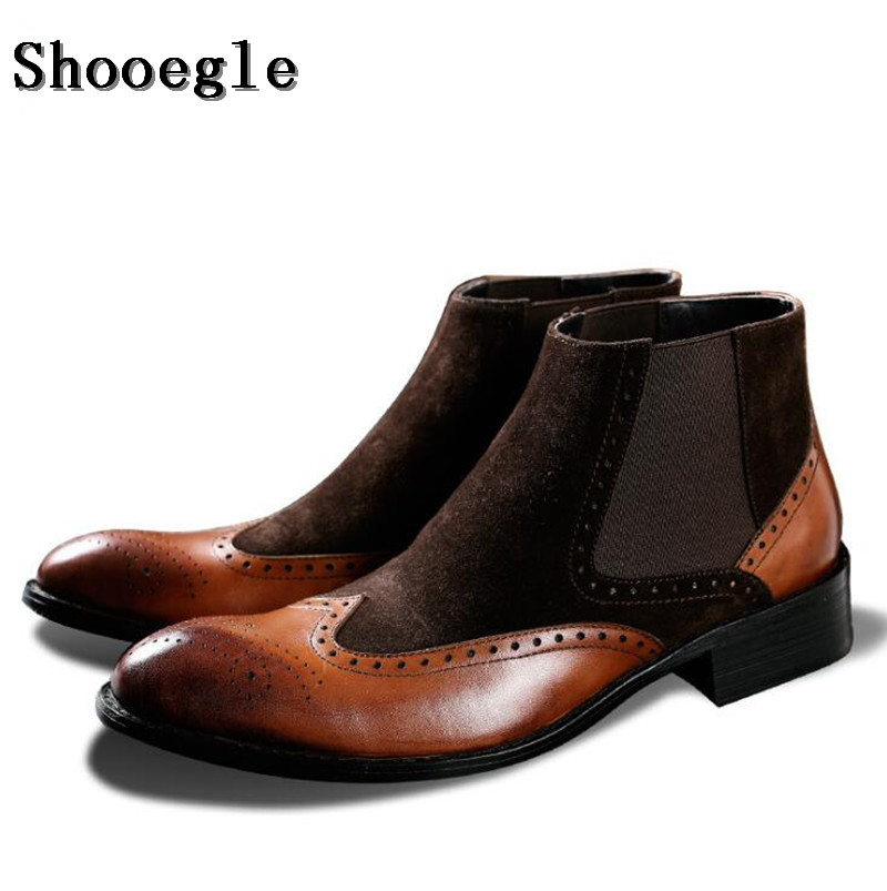 SHOOEGLE Mens Black Brown Leather Boots Anti-Skid Ankle Botas Fashion Luxury Patchwork Motorcycle Boots Man Chaussure Homme SHOOEGLE Mens Black Brown Leather Boots Anti-Skid Ankle Botas Fashion Luxury Patchwork Motorcycle Boots Man Chaussure Homme