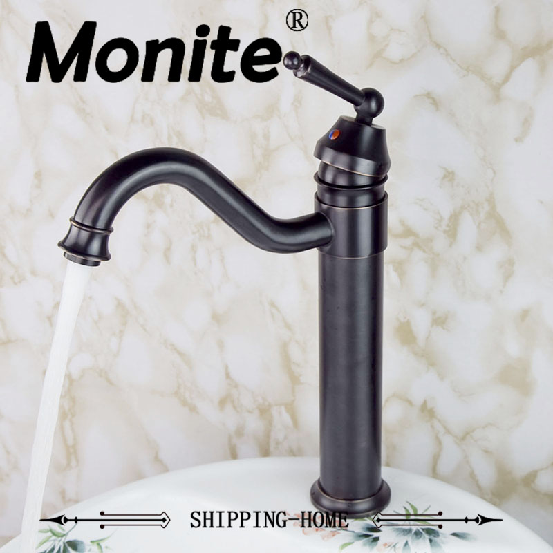 360 Swivel ORB Deck Mounted Single Handle Oil Rubbed Bronze Bathroom Basin Sink Mixer Tap Brass Faucet Hot & Cold Mixer Tap oil rubbed bronze long neck bathroom vanity sink faucet deck mount basin mixer tap single handle one hole