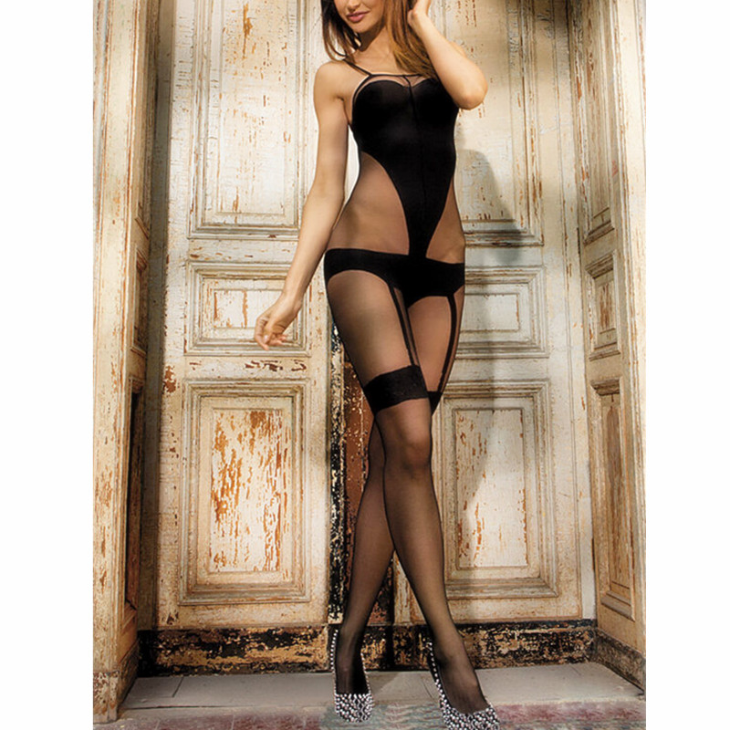 Women Crotchless sheer bodystocking Full Body shiny pantyhose sexy open crotch girl High elastic Tights Stocking image