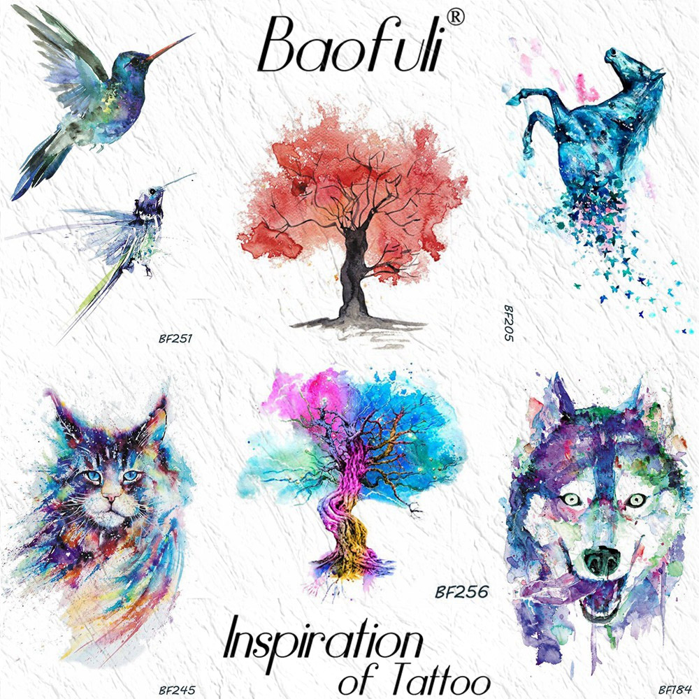 Baofuli Watercolor Tree Design Flash Temporary Tattoos Kit Cat Wolf Waterproof Tattoo Sticker Women Body Art Fake Tatoo For Kids