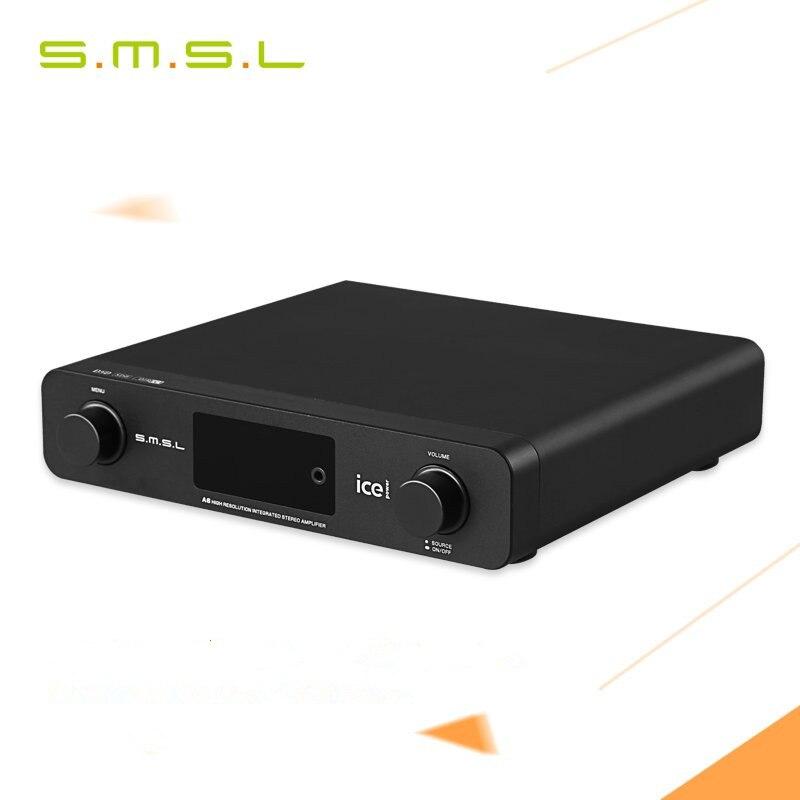 SMSL A6 AK4452 50Wx2 DSD512 Digital Decoder HIFI Audio Power Amplifier OPTIC/Coaxial/XMOS/USB DAC 384KHZ/32Bit ICE Power 50ASX2