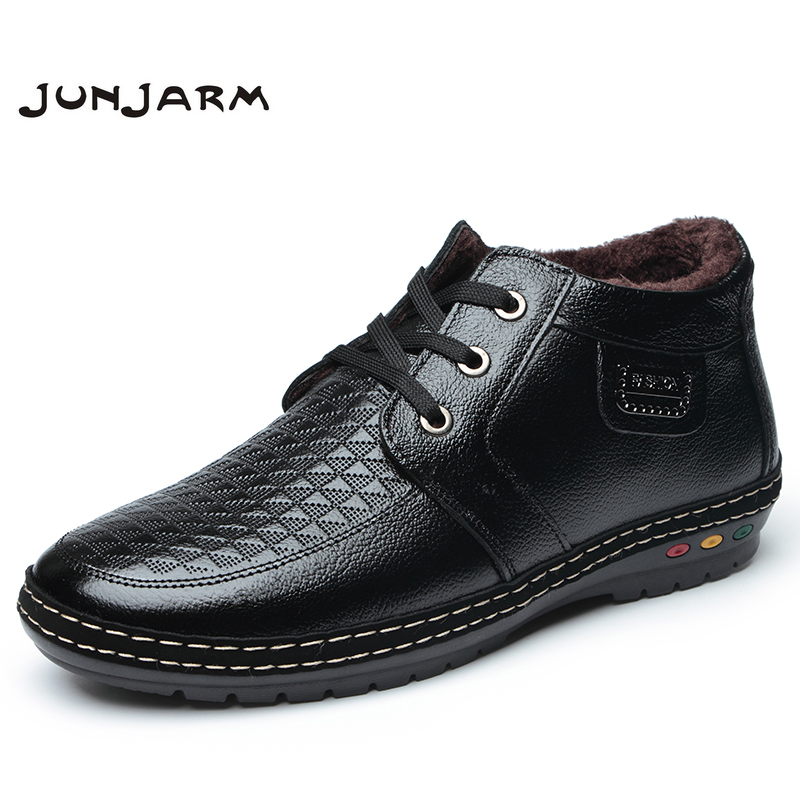 JUNJARM Fashion Father Snowboots Warm Lace Up Leather Mens Ankle font b Boots b font Winter