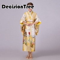 2019 summer women japanese traditional kimono with obi vintage female evening kimono dress japan kimono flower yukata bathrobes