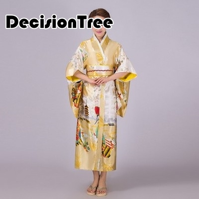 2019 Women Japanese Traditional Kimono With Obi Vintage Female Evening Kimono Dress Japan Kimono Flower Yukata Bathrobes
