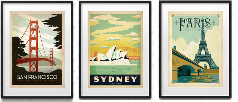 Vintage posters mural print paris eiffel tower sydney for Poster mural intisse