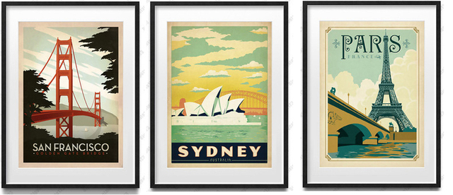 Vintage posters mural print paris eiffel tower sydney opera house san francisco golden gate bridge abstact
