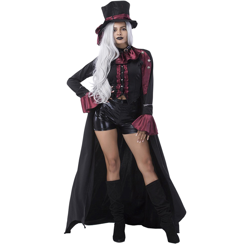 4 PCS Set 2017 Halloween Cosplay Costumes Suit Vampire Countess Role-Playing Games With Hat deguisement Party Women Sexy Costume