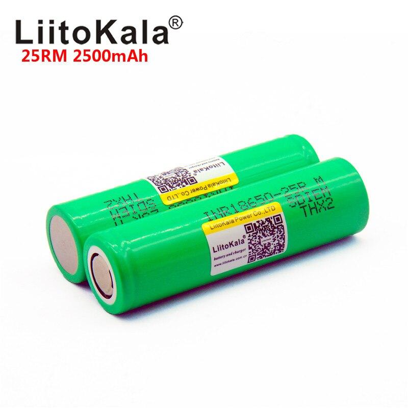 8PCS 2019 NEW Liitokala Original 18650 2500mah Lithium Battery INR18650-25RM 20A, 2500mah Battery For Electronic Cigarette