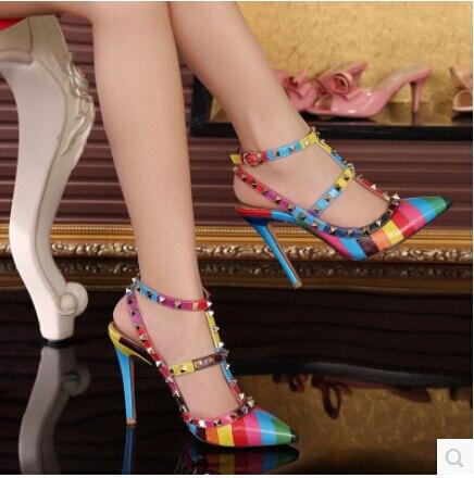 3ab100c0f60 2015 latest hot fashion Valentinos 10 cm high heels Multi color Sheepskin  genuine leather shoes women platform pump rivets shoes