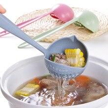 Accesorios de cocina palas 2 en 1 mango melón redondo de plástico cuchara colador de sopa de verduras colador cocina herramientas