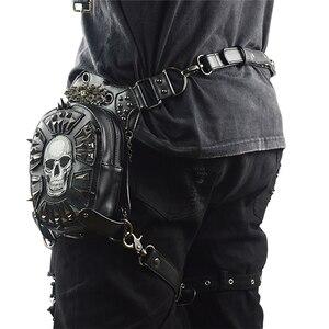 Image 3 - Gothic Steampunk Skull กระเป๋าใหม่ผู้หญิงกระเป๋า Messenger กระเป๋าหนังเอวขากระเป๋าแฟชั่น Retro ROCK รถจักรยานยนต์ขากระเป๋าสำหรับผู้ชาย
