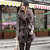 VK0016 Female Fashion Genuine Sheep Leather Coat With Fox Fur Collar Trimming Belt In Stock Free