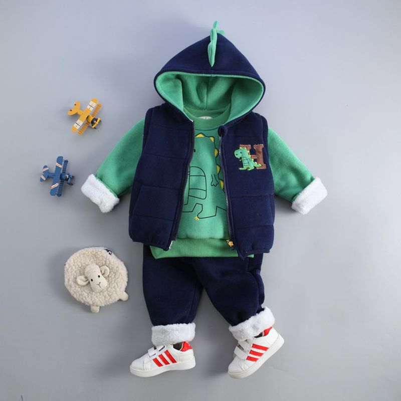 2018 New Children Winter Suit Three-Piece Boy Sports Suits Cute 3D dinosaur Cotton Plus Velvet Thick Warm Kids Clothing cute puppy baby girl clothes set children hoodies 2017 winter new boy hooded cashmere sweater kids thick two piece suit