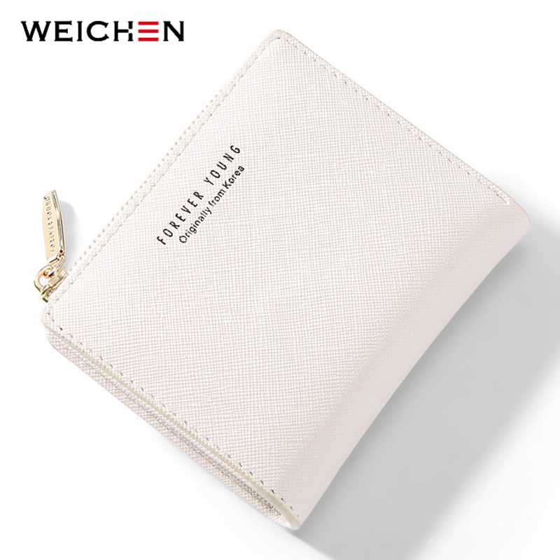 Weichen Women Wallet Small Zipper Female Coin Purse Pu Leather Mini Ladies Wallet Forever Young Girl Wallet Card Holders