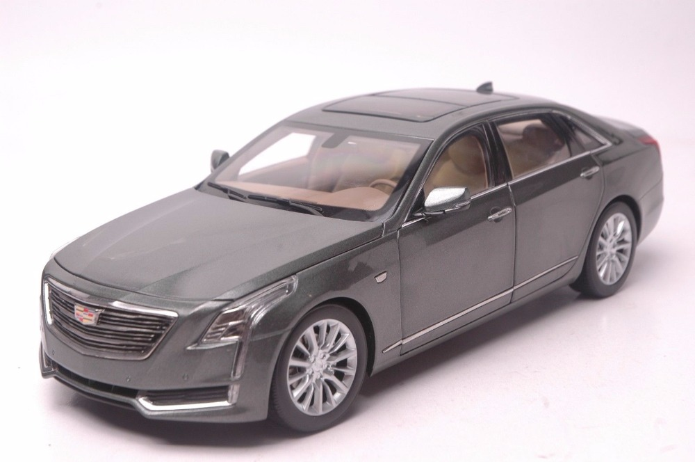 1:18 Diecast Model for GM Cadillac CT6 2016 Gray Sedan Alloy Toy Car Miniature Collection Gifts CT 1 18 diecast model for gm cadillac xt5 white suv alloy toy car miniature collection gifts ats
