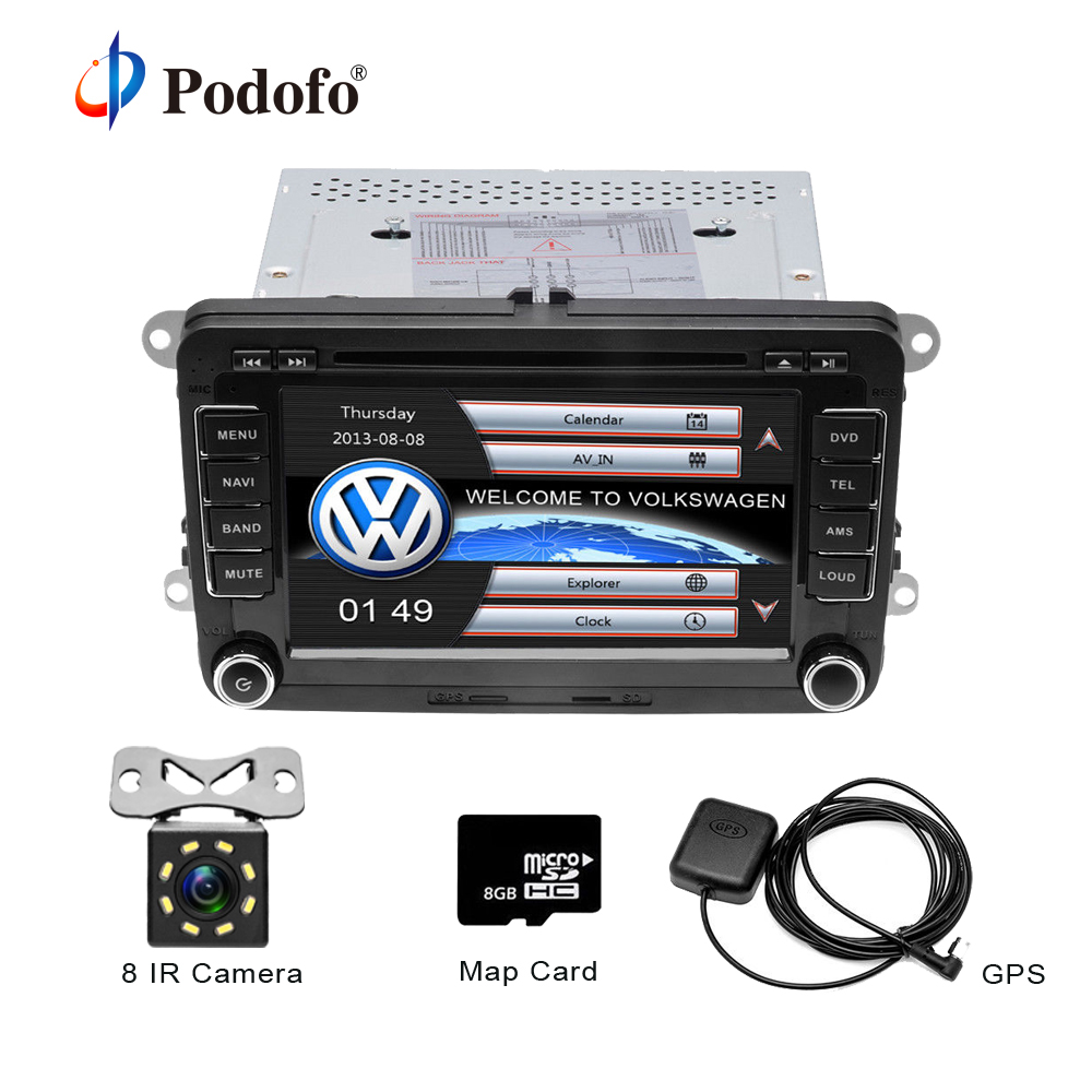 Podofo 2 Din 7'' Car DVD Player GPS Navigation Bluetooth Radio IPOD FM RDS Map for VW/Volkswagen/Passat/POLO/GOLF/Skoda/Seat 2 din 7 inch car dvd player for skoda octavia fabia rapid yeti superb vw seat with wifi radio fm gps navigation free map