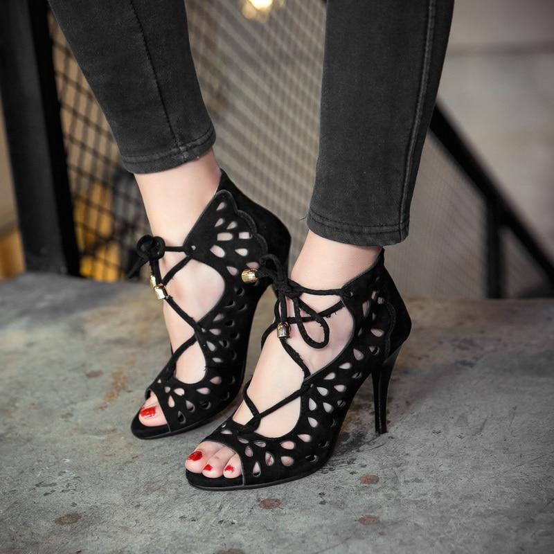 Sapato Fresco gris Tamaño Botas Sandalias 18 Negro Zapatos Señoras Tacón Señora Moda Nuevas Grande Alto Femenino 2017 Mujeres Partido rojo 44 1 Bombas 34 BxTtqzX