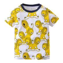 Summer Boys T shirt Tiger Lion Baby Clothing 100% Cotton Short Sleeve for Kids Cartoon Tees Children Tops