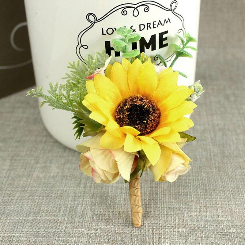 Wedding Flowers Men: Rustic Sunflower Artificial Flowers Bouquet Wedding