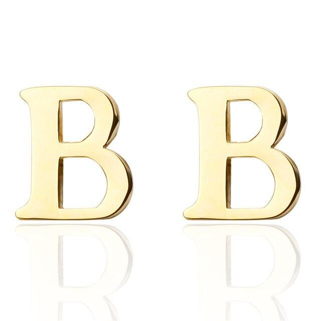 new brand gold a z letter b shirt cufflinks for men jewelry wedding groom alloy cuff links
