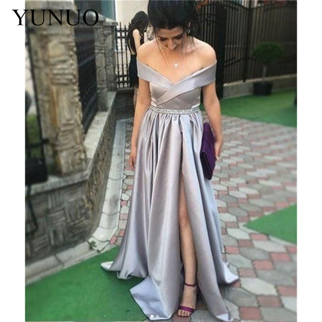 YuNuo Long Prom Dresses V-Neck Off The Shoulder Split Side Floor Length Formal Evening Dress Party Gowns 2019 2