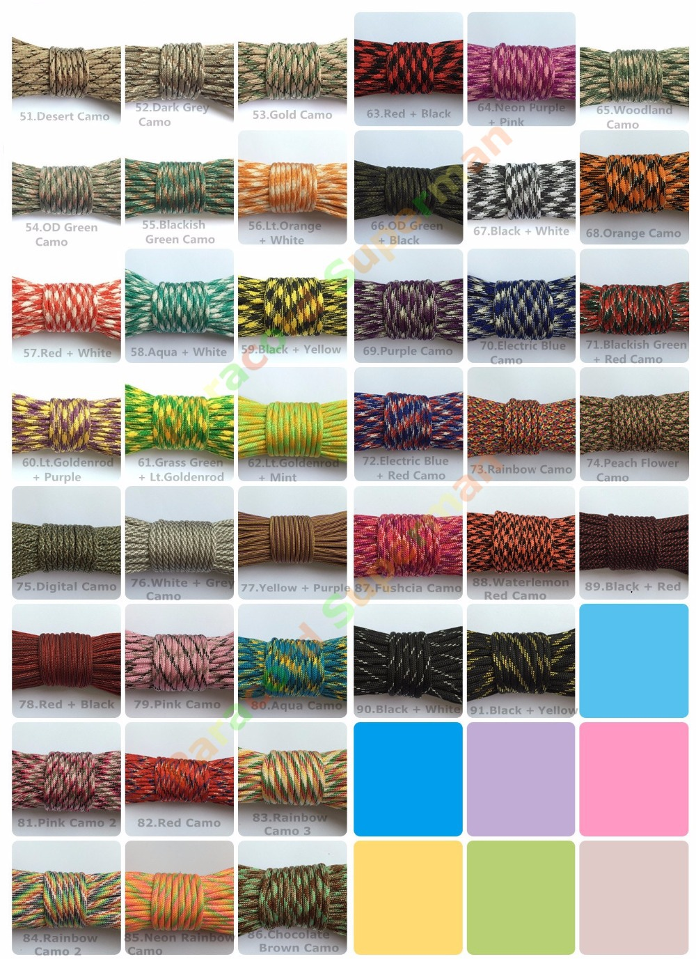 New 100% Nylon 550 Paracord Mil-Spec Type III Parachute Cord Lanyard Rope 7 cores inside 100 FT per roll 75 colors Free Shipping