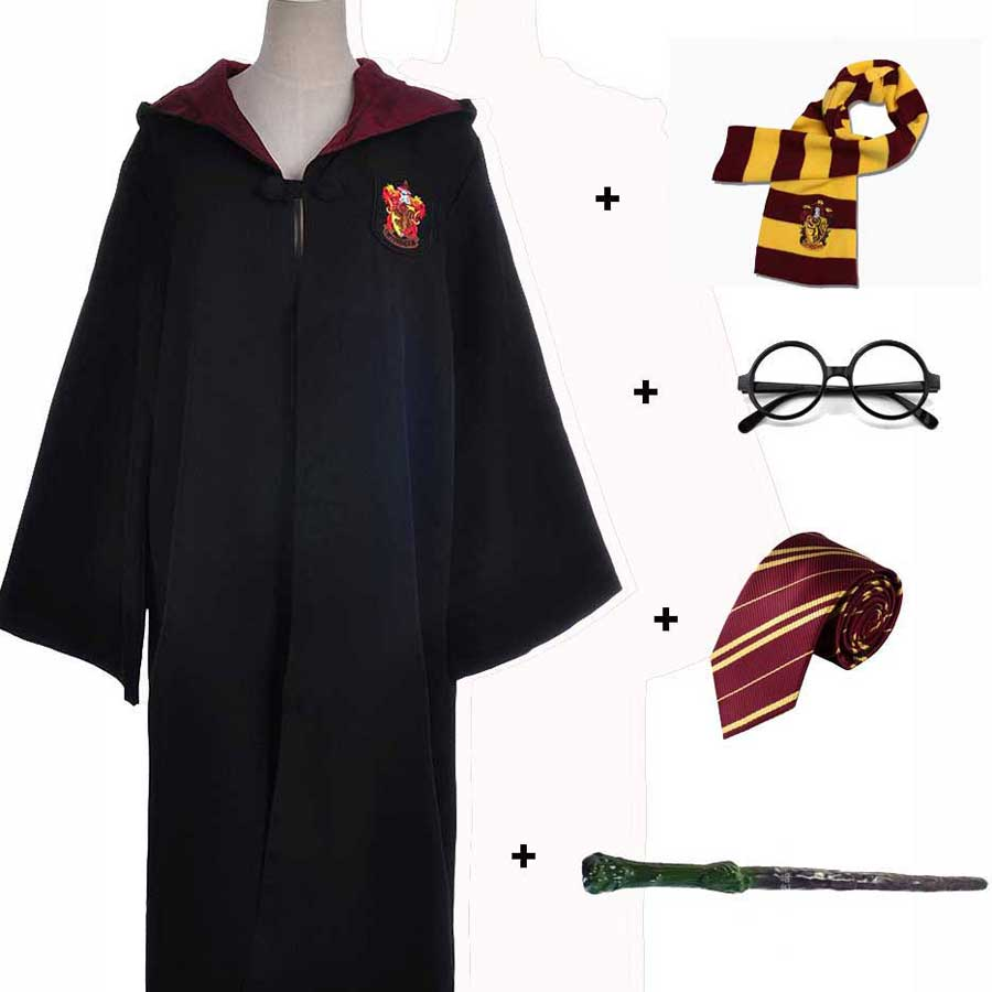 Kids Adult Gryffindor Robe Magic Ravenclaw Hufflepuff Slytherin Cloak Tie Scarf Wand School Robe For Harris Potter Cosplay(China)