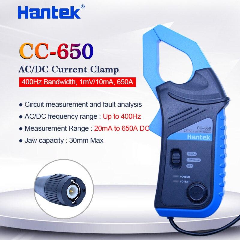 Hantek AC/DC Current Clamp Meter CC650 para 400Hz de largura de Banda do osciloscópio 1mV/10mA 650A CC-650 com BNC /tipo de Banana conector