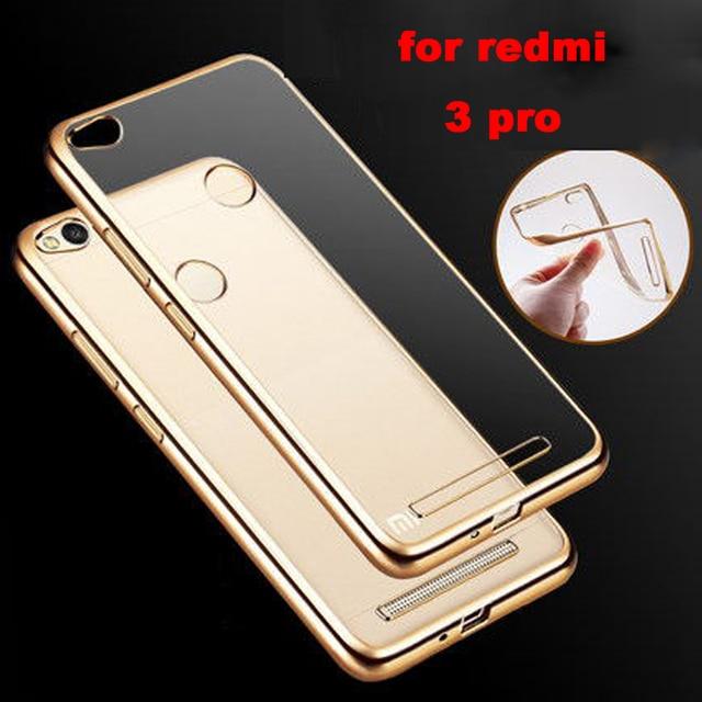 3 S luxury clear Gold original transparent soft tpu phone battery cases back cover case for xiaomi redmi 3S redmi 3 pro 3s s 5.0