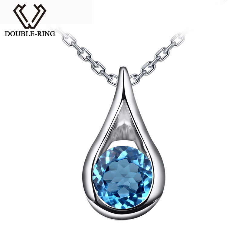 цена DOUBLE-R Water Drop Natura Blue Topaz 925 Sterling silver Pendants engagement wedding Pendants Fine Jewelry For Women Gifts