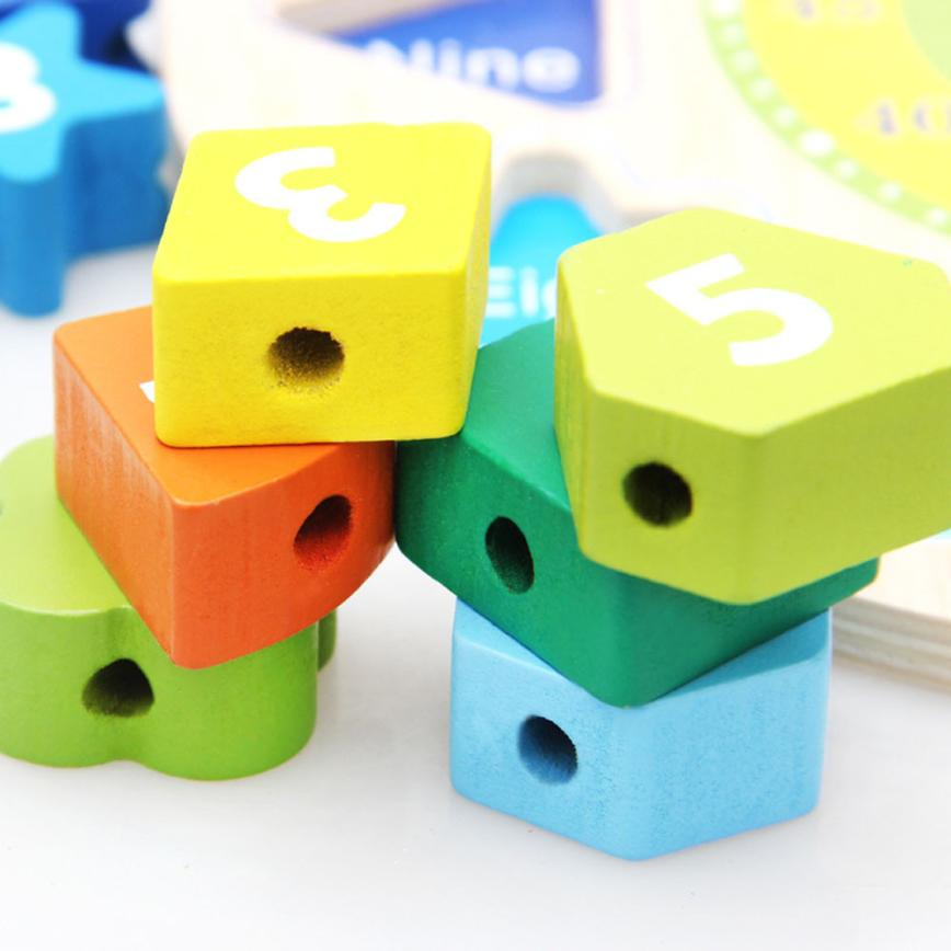 DIY Imagination Wooden Toy Digital Geometry Clock Wooden Blocks Toys DIY Beads Toy Gift Do-It-Yourself Building Blocks t211