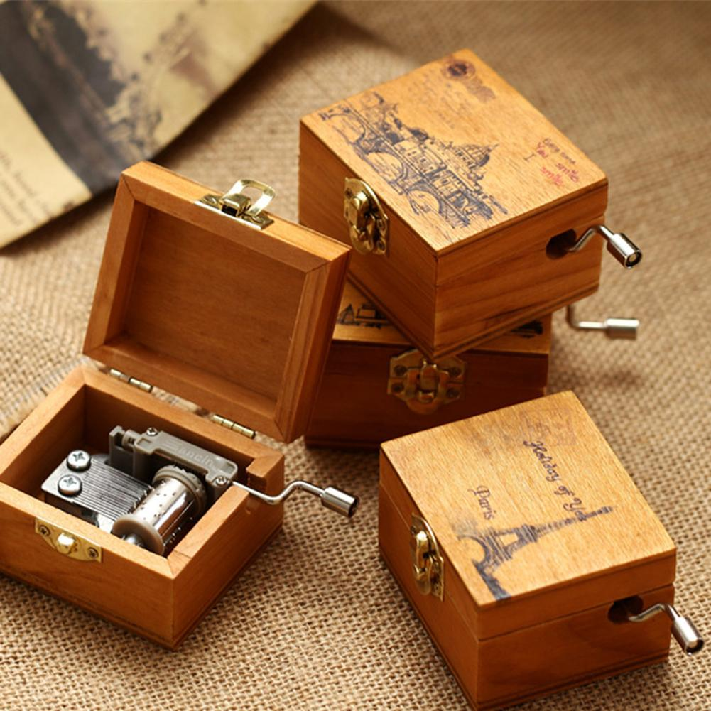 Mini Vintage Hand Crank Wooden Music Box Birthday Gift Christmas Decoration