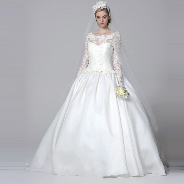 Classic Lace A Line Wedding Dress 2016 With Long Sleeve