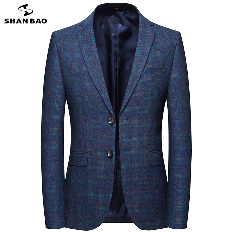 SHANBAO brand business casual plaid casual blazer 2019 spring new style luxury high quality two buckle men's slim suit jacket-in Blazers from Men's Clothing    1