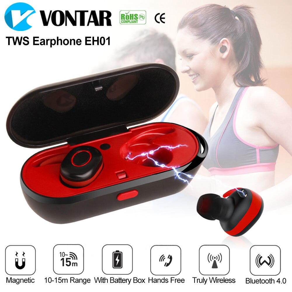 Vontar EH01 Беспроводной наушники пот доказательство Близнецы наушники Портативный Bluetooth наушники с зарядки коробка анти-капля СПЦ гарнитура