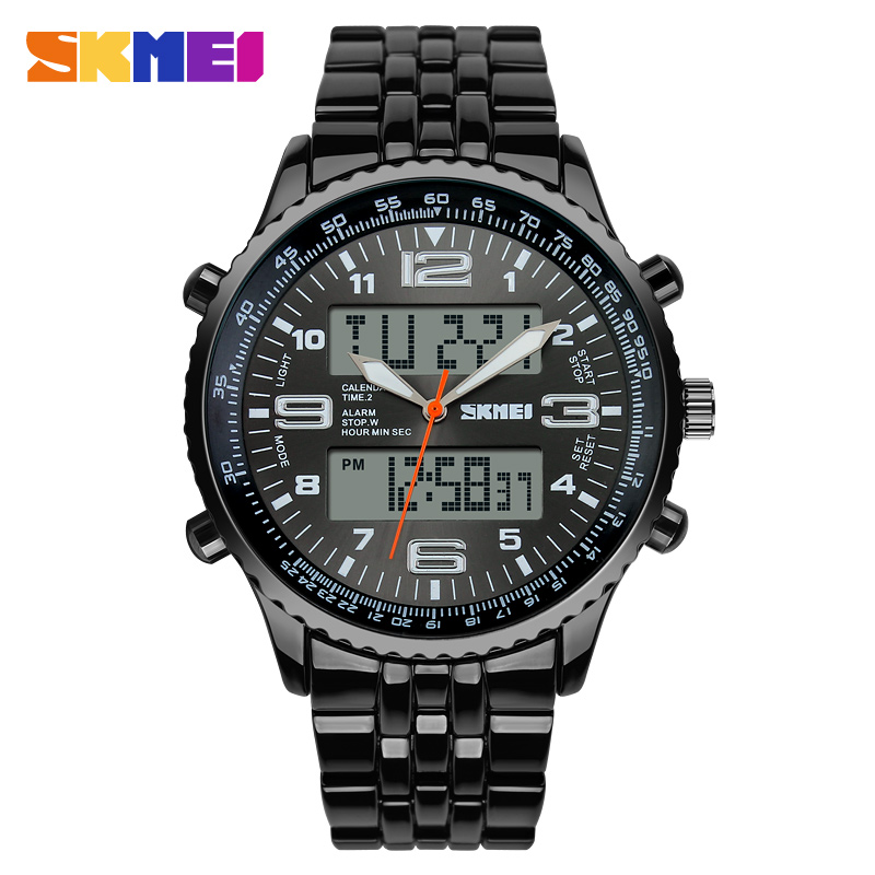 2018 New SKMEI Luxury Brand Men Military Watches Volledig Staal Heren - Herenhorloges - Foto 3