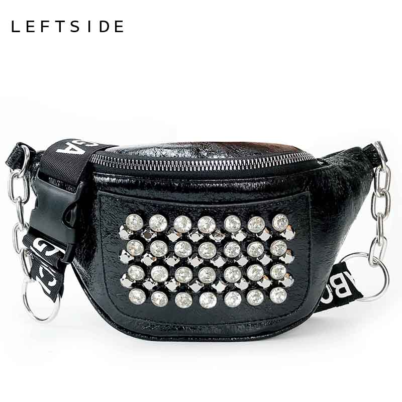 LEFTSIDE Women PU Leather Funny Pack Female Designer Waist Bag Fanny Packs Lady Rivet Belt Bags Women's Chain Chest Handbag цена