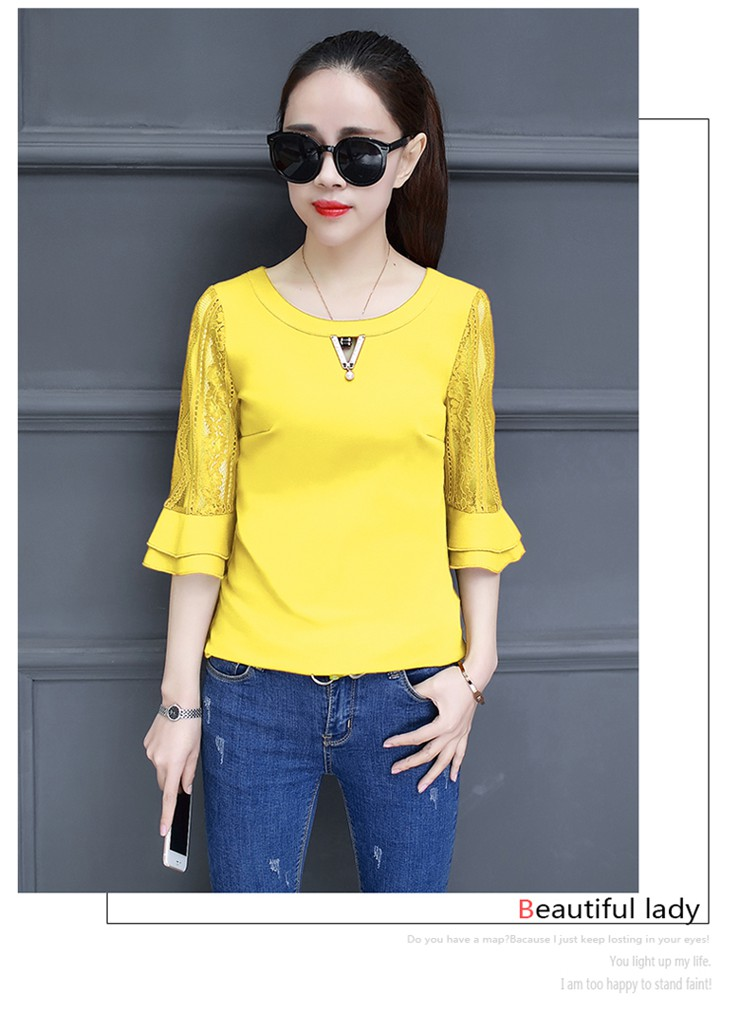 Women Blouse Summer Tops 2018 New Arrival Patchwork Blusas Mujer Lace Flare Sleeve Female Shirts Khaki Green Yellow  (6)