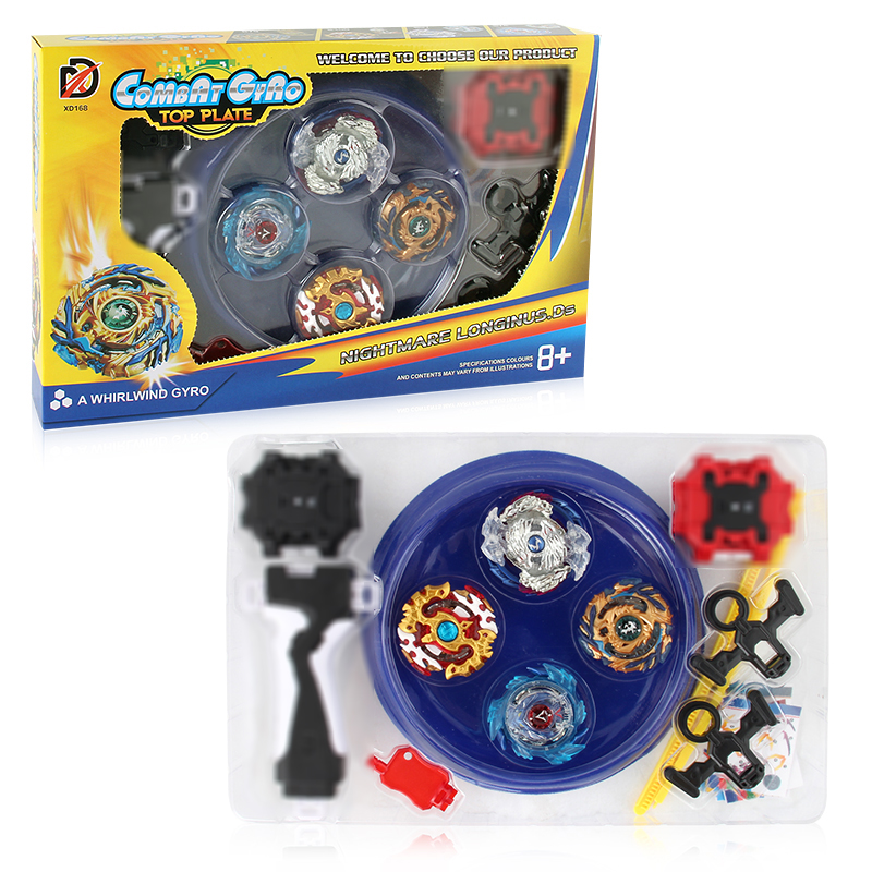 4pcs/Set Spin Tops Arena Toys XD168 6 Metal Fight Bey Metal 4D Fusion With Launcher Handle Stage Spinning Top For Kids E