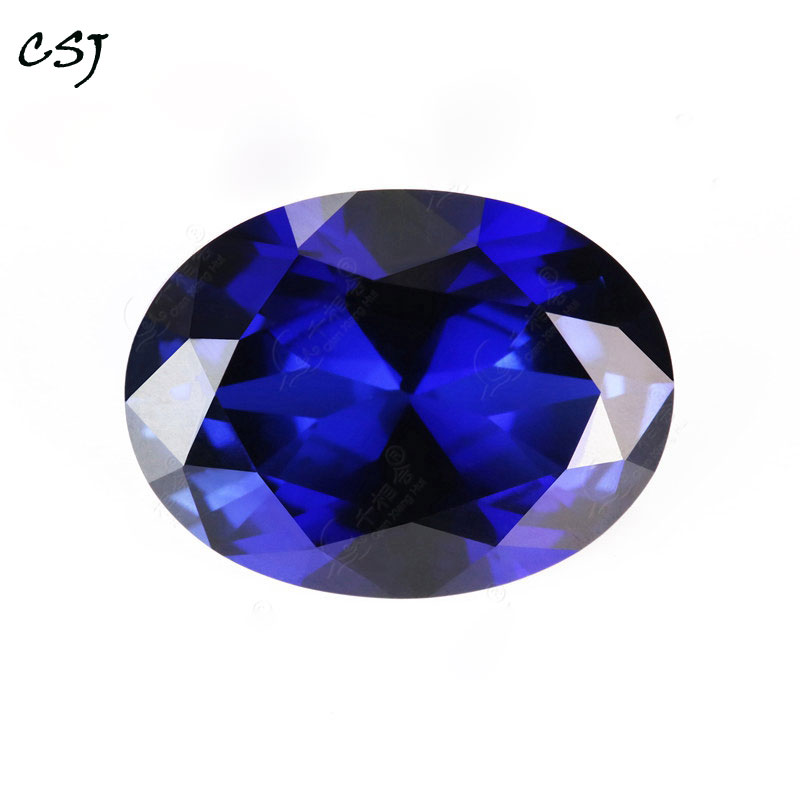 CSJ Syntheitc Sapphire Oval Cut Loose Gemstone Blue Corundum For Diy Fine Jewelry 925 Silver Mounting  Color Change Stone