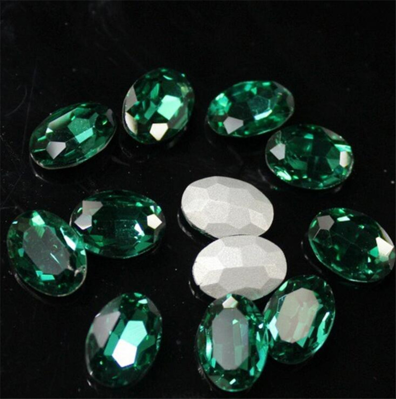 Various Size Emerald Color Oval Shape Hand Craft Pointback Rhinestones Glass DIY Crystal Rhinestone Garment Dress Decoration snap button jewelry