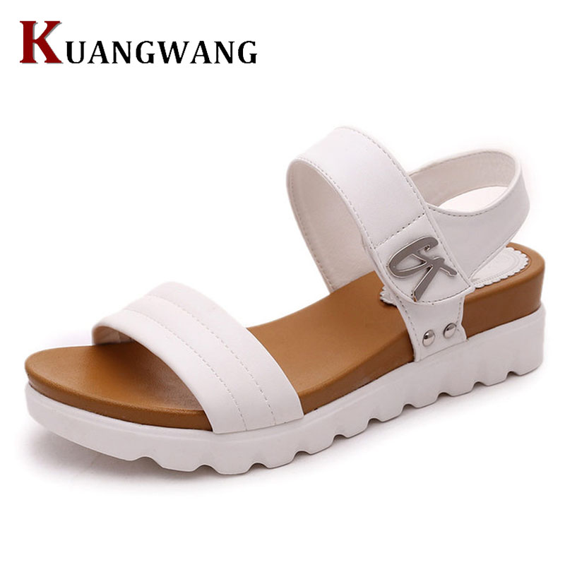 Sandalias Mujer 2017 Summer Hot Sale Gladiator Sandals Women Aged Leather Flat Fashion Sandals Comfortable Ladies Shoes