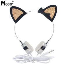 hot deal buy girls glitter sparky cat ear headphones wired 3.5mm earphones for mp3 players pc